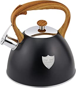 3L Tea Kettle Stovetop Whistling Teakettle Tea Pot,Food Grade Stainless Steel Tea Kettles with Heat Proof Wood Pattern Handle, Loud Whistle And Anti-Rust, Suitable for All Heat Source,Black