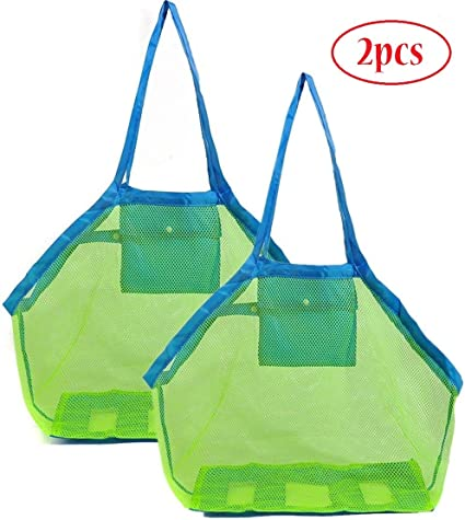 SIHUAN 2PCS Mesh Beach Bag and Tote for Sand Toys Extra Large Beach Bags for Holding Beach Toys Children/' Toys