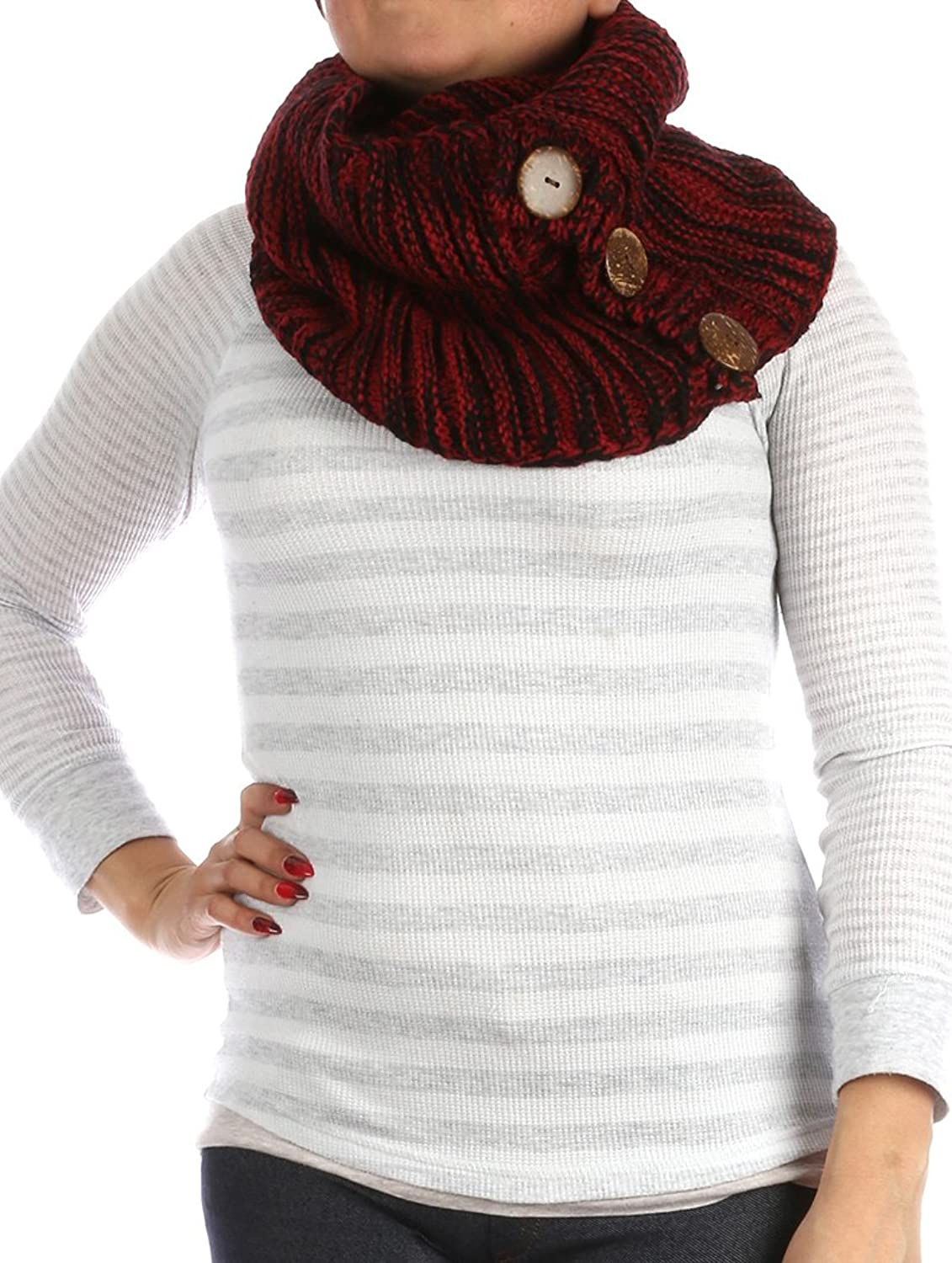 Parisian Chic Scarf Three Button Closure Infinity Knit X Acrylic One Size red