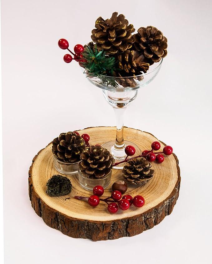 Rodaja de madera rústica para decoración de centro de mesa: Amazon.es: Hogar