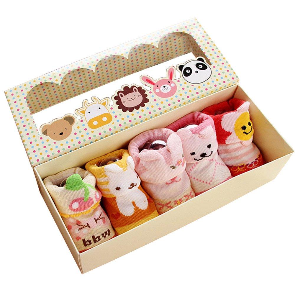 Gosear 5 Pares de Calcetines para Bebé Niñas 0-12 Meses
