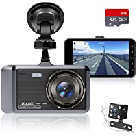 """Autocamera, Abask Dash Cam 4 """"Full HD 1080P Nachtzicht, 170 ° Groothoek Voor- en Achtercamera Met G-sensor, WDR…"""