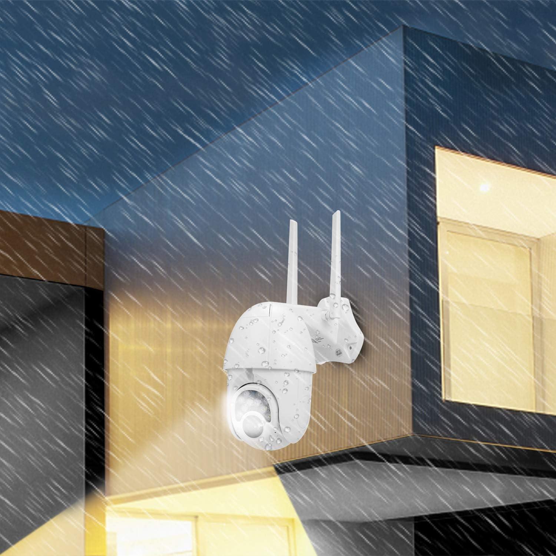 355 /° Horizontal y 110 /° Vertical Visi/ón Nocturna Alarma de Detecci/ón de Movimiento C/ámara de Vigilancia Exterior WiFi Tarjeta TF(No Incluida) OWSOO C/ámara IP 1080P Vigilancia de Tel/éfono