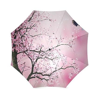 Beautiful Cherry Blossom Tree, Sakura Flower Pattern Folding Rain Umbrella/Parasol/Sun Umbrella