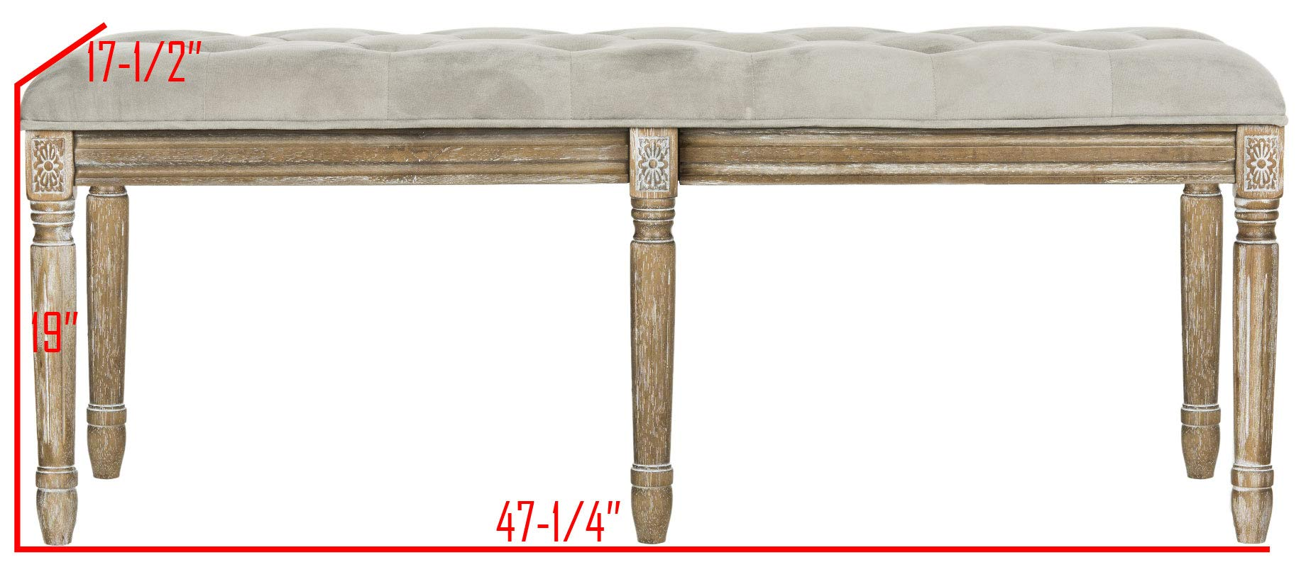 Safavieh Home Collection Rocha French Brasserie Tufted Grey and Rustic Oak 19-inch Wood Bench by Safavieh (Image #5)