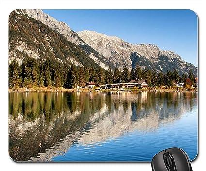 Amazon Com Mouse Pads Austria Mountains Lake Trees Buildings