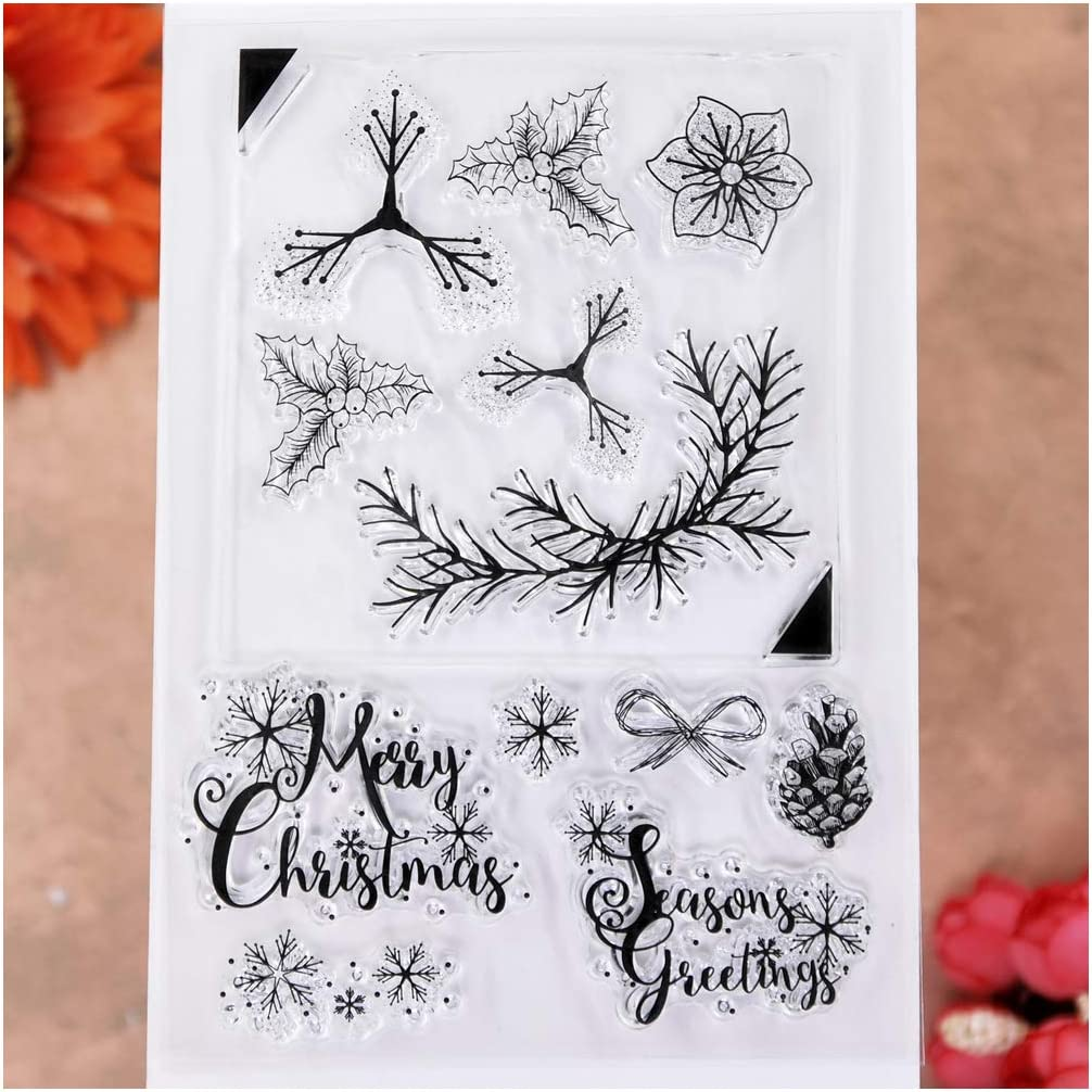 KWELLAM 4 Sheets Different Style Tree Flowers Clear Stamps for Card Making Decoration and DIY Scrapbooking