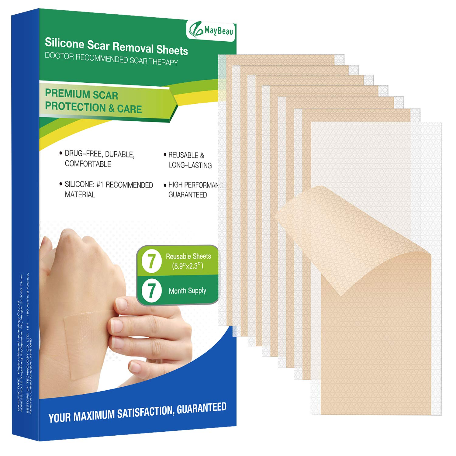"MayBeau Silicone Scar Sheets, 7 PCS Sheets (7 Month Supply) Medical Silicone Scar Patch for Soften and Flattens Old & New Scars on Keloid Surgery Injury Burns Acne C-Section Scars and More (5.9""×2.3"")"
