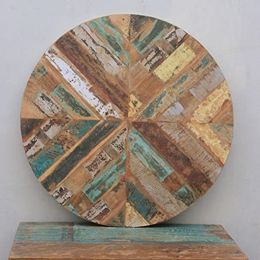 Antique Rustic Reclaimed Wood Round Table Top 36 x 36 x 1 Multi Color