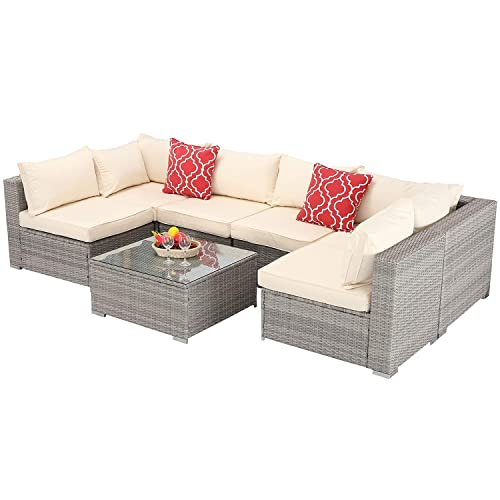 Furnimy 7 PCS Outdoor Patio Furniture Set Cushioned Sectional Conversation Sofa Set Rattan Wicker Gray with Tempered Glass Coffee Table and 2 Red Pillows Beige