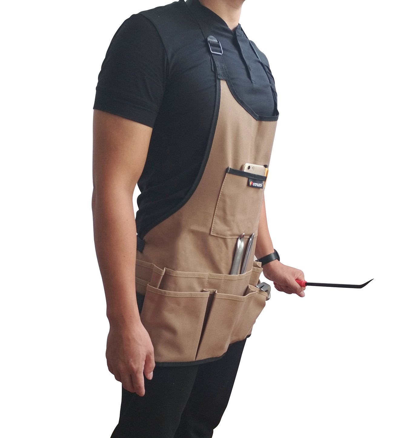 Tebery 600D Oxford Cloth Heavy Duty Work Apron, Adjustable and Durable Tool Aprons - Khaki by Tebery (Image #6)