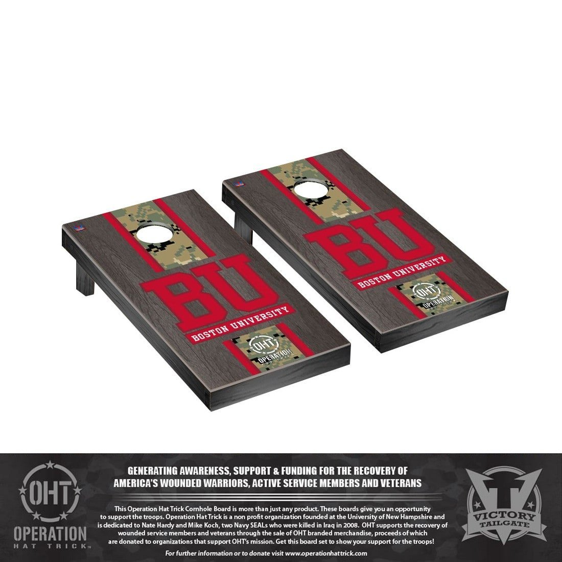 Victory Tailgate Stained Stripe Version Cornhole Game Set Color: Onyx, NCAA Team: Operation Hat Trick Boston BU Terriers by Victory Tailgate (Image #1)