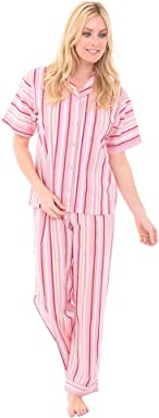 Alexander Del Rossa Woven Cotton Striped Short Sleeved Pajama Set, 100% Cotton Pjs