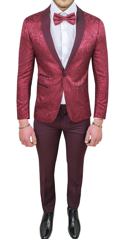Abito completo uomo sartoriale bordeaux tessuto raso damasco floreale slim fit vestito smoking elegante