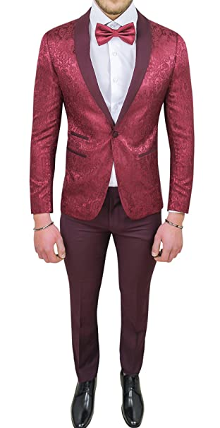 Abito completo uomo sartoriale bordeaux tessuto raso damasco floreale slim  fit vestito smoking elegante (42 d8b9c358e28