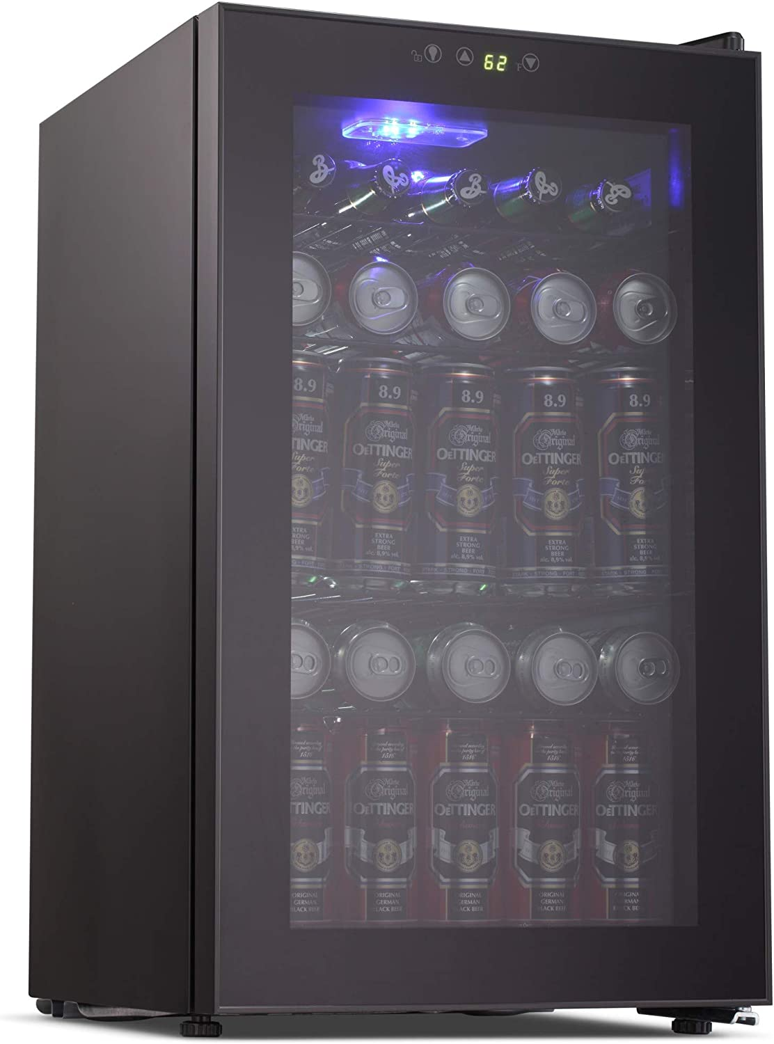 Joy Pebble Beverage Cooler and Refrigerator 85 Can Mini Fridge with Glass Door for Soda Beer or Wine Small Drink Cooler for Home Office or Bar