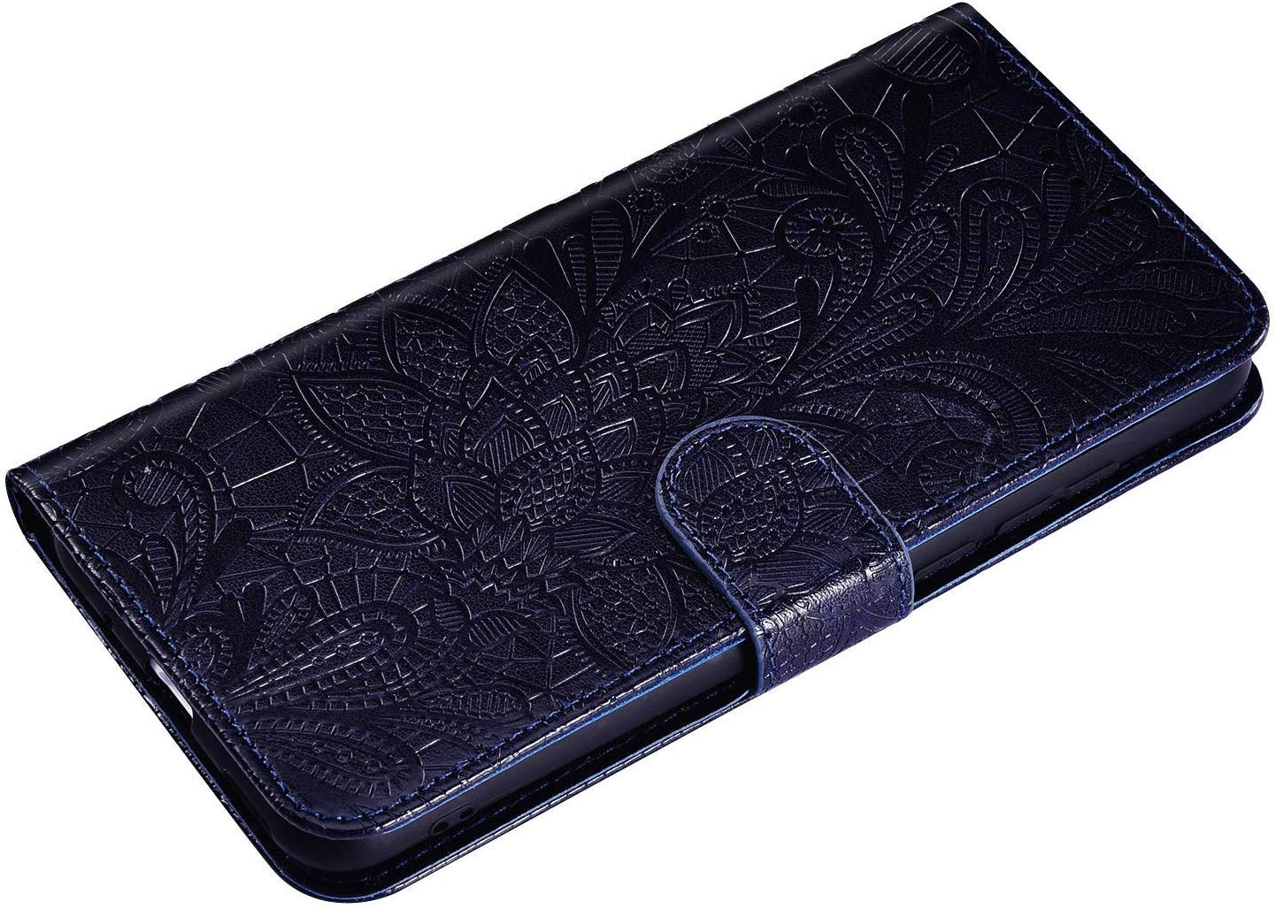 IKASEFU Compatible with iPhone 11 6.1 inch Case Emboss Lace flower Pu Leather Wallet Strap Case with Card Holder Slots Shockproof Magnetic Stand Folio Flip Book Protective Bumper Cover,dark blue