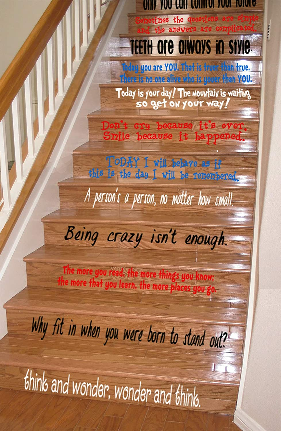 0160a430 Amazon.com: GMDdecals Dr Seuss Assorted Quote Set Vinyl Stair or Wall Decal  [Black/Aqua/RED/White] 24
