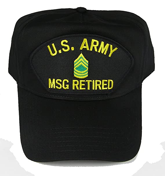 35e4af8727c U S ARMY MSG RETIRED with MASTER SERGEANT RANK INSIGNIA HAT - Black -  Veteran Owned Business