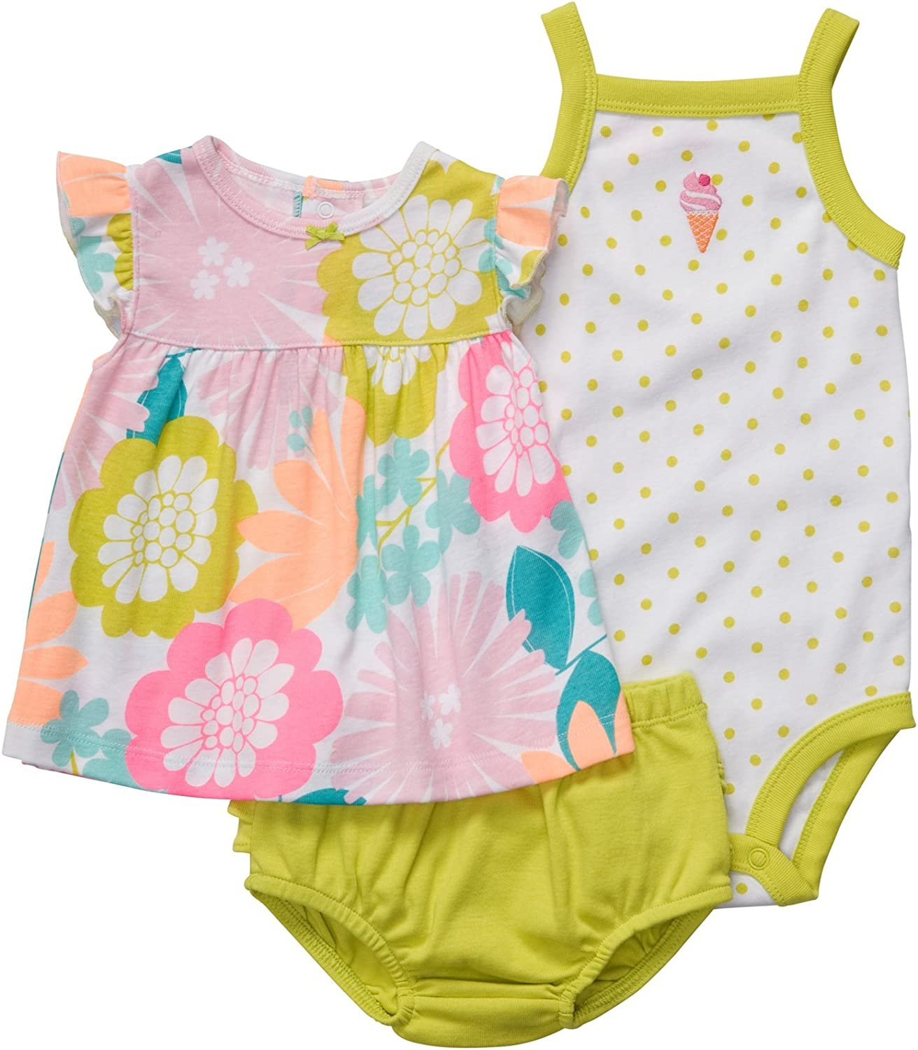 Spring Flowers Carters Baby Girls Oh-So-Fun 3-Piece Set