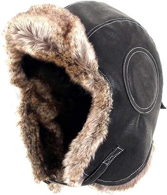 Faux Fur and Black Canvas Ushanka Winter Ski Nordic Russian Cap Trapper Hat