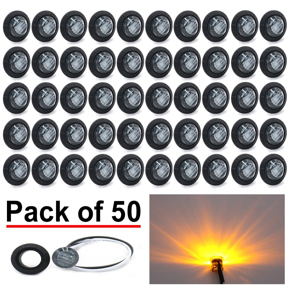 (Pack of 50) Madcatz Amber Light (Smoked Lens) 3/4 inch Bullet Side Led Marker Trailer lights Clearance Indicator 12V DC