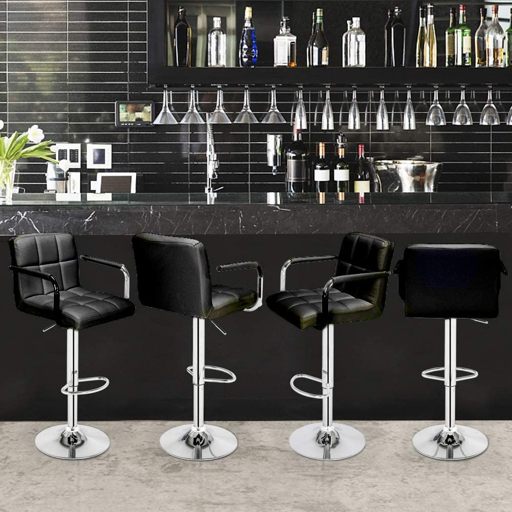 LOVEMYHOUSE Bar Stools Set of 2 Black Chair Bar with Backrest and Footrest Stools 360° Swivel Kitchen Stool for Breakfast Home Lounge (Black) Black