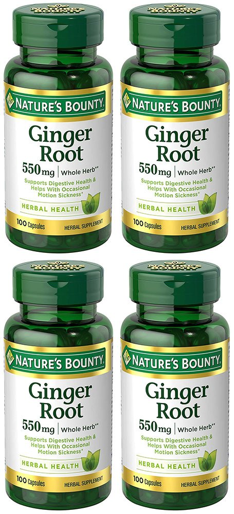 Ginger Root 550 mg, 4 Bottles (100 Capsules)