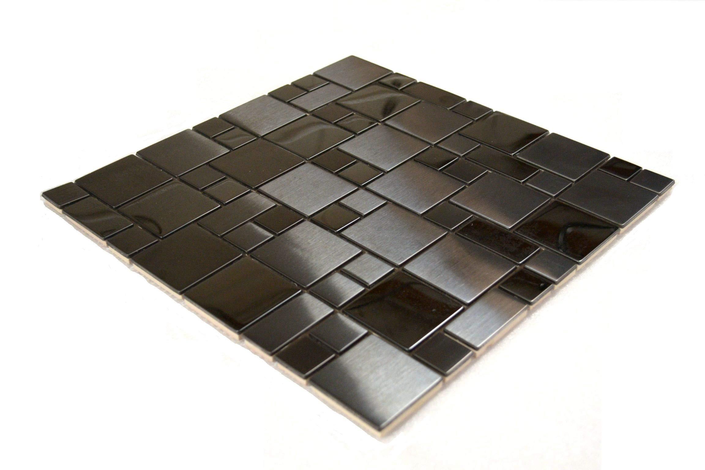 Black Stainless Steel Metal French Pattern Mosaic Tile for Kitchen Backsplash (1 Sheet) by Tile Depot