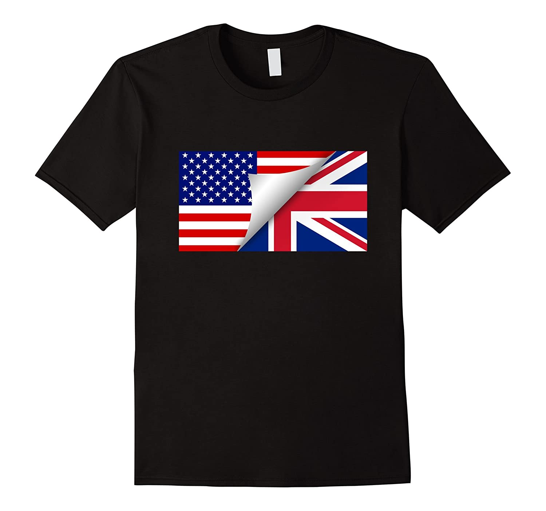 British American Flag T-Shirt Half British Half American Tee-CD