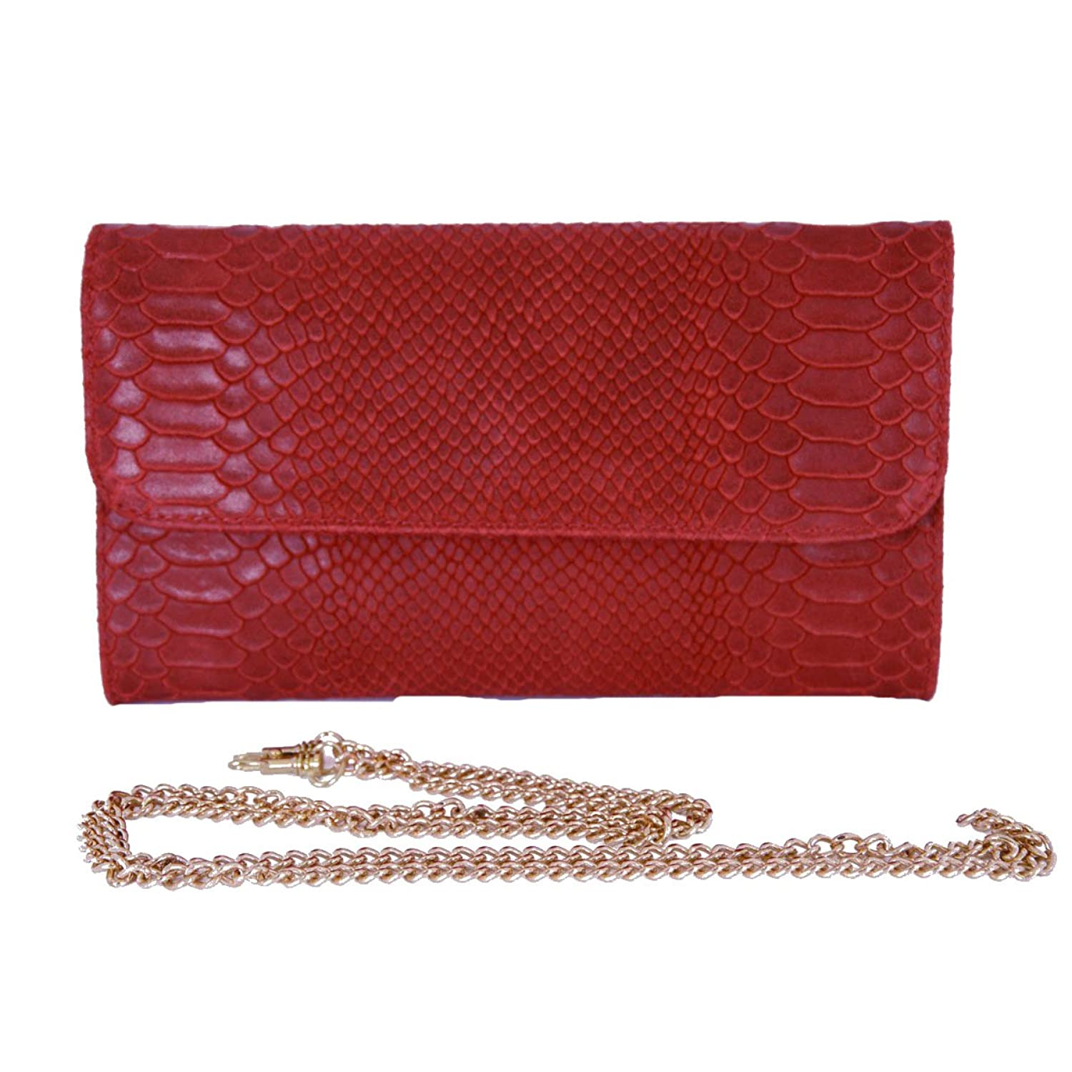 Genuine Leather Python Printed Woman Clutch Color Red