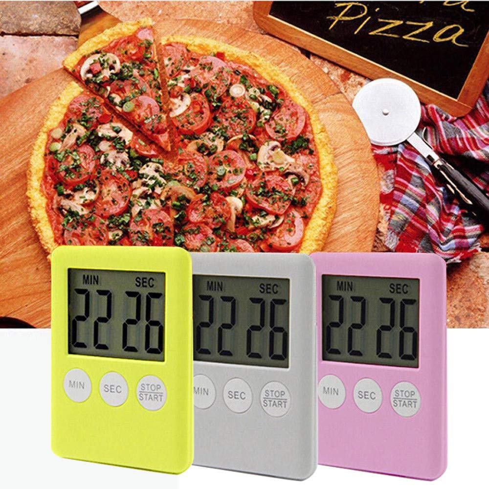 Portable Large Digital LCD Screen Countdown Timer Clock Alarm for Kitchen Cook Yellow Transer Digital Kitchen Timer