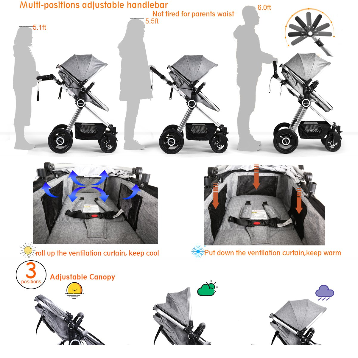 Infant Toddler Stroller Folding Convertible Carriage Infant Anti-Shock High View Luxury Baby Stroller Newborn Pram Stroller Pushchair Stroller for Babies(Light Camel) by Cynebaby (Image #8)