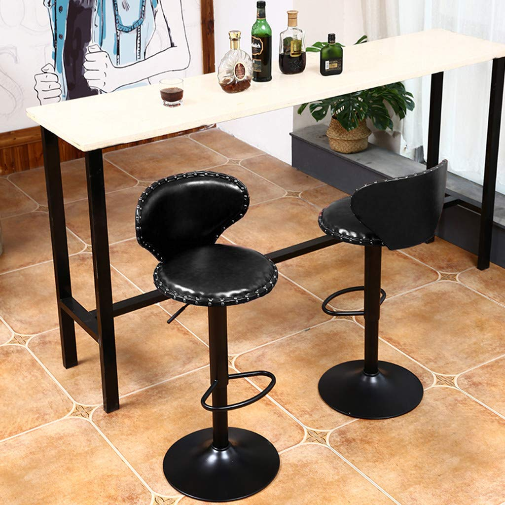 Counter Height Bar Stools Set of 2 Leather Adjustable Height Bar Chairs Barstools Swivel Stool Ergonomic Hydraulic Stools Kitchen Dining Chairs - Shipped from US (Brown, 15×16inch)