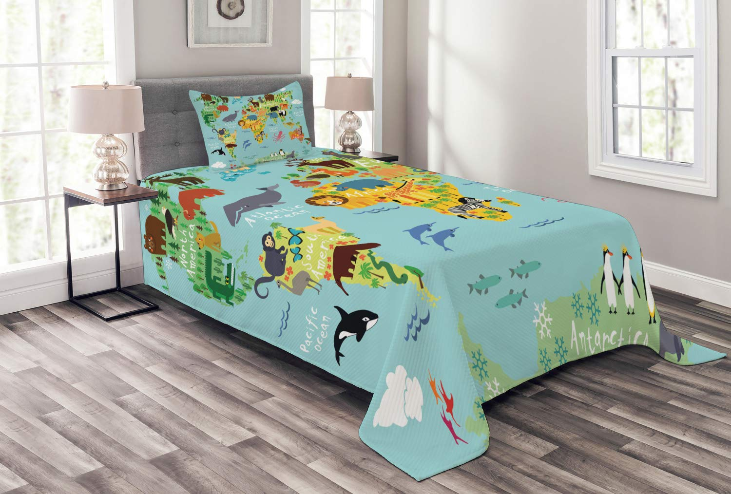 Ambesonne Wanderlust Bedspread Set Twin Size, Animal Map of The World for Children Kids Cartoon Mountains Forests, Decorative Quilted 2 Piece Coverlet Set with Pillow Sham, Pale Blue Yellow Green