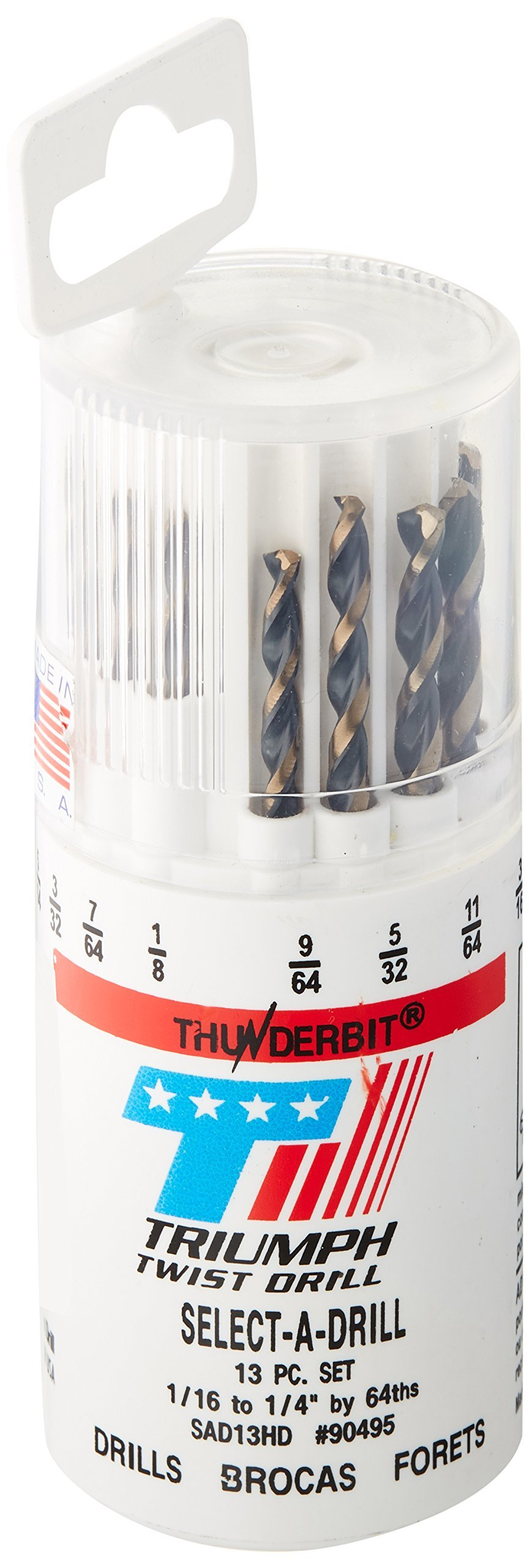 Triumph Twist Drill Co. 090495 SAD13HD Size Ranger 1/16-Inch-1/4-Inch by 64ths High Speed Steel Drill Set, Black and Bronze Oxide Coated, 1-Pack by Triumph Twist Drill Co.