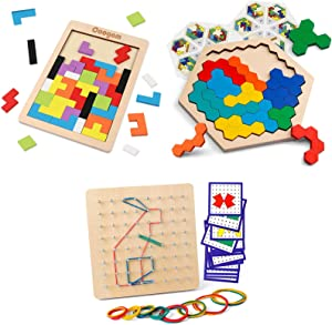 Coogam Wooden Blocks Puzzle Brain Teasers Toy + Wooden Hexagon Puzzle + Coogam Wooden Geoboard Mathematical Manipulative Material for Kid Adults