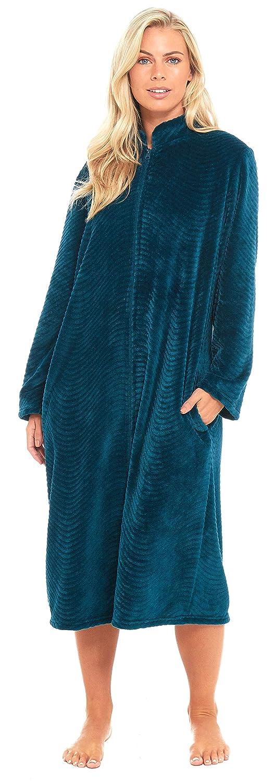 Slumber Hut Ladies Fleece Zipped Dressing Gown Traditional Collar