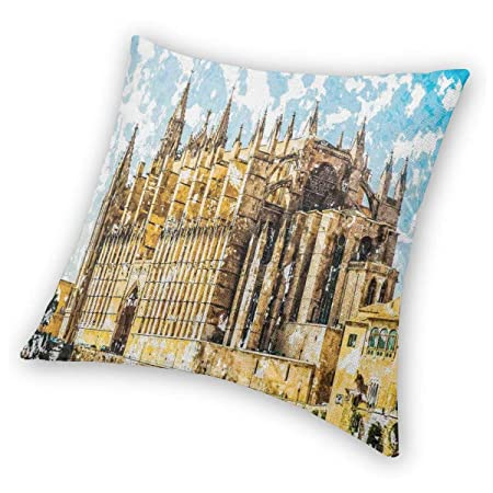 Gothic Throw Pillow Cushion Cover,Big Gothic Building Sea ...