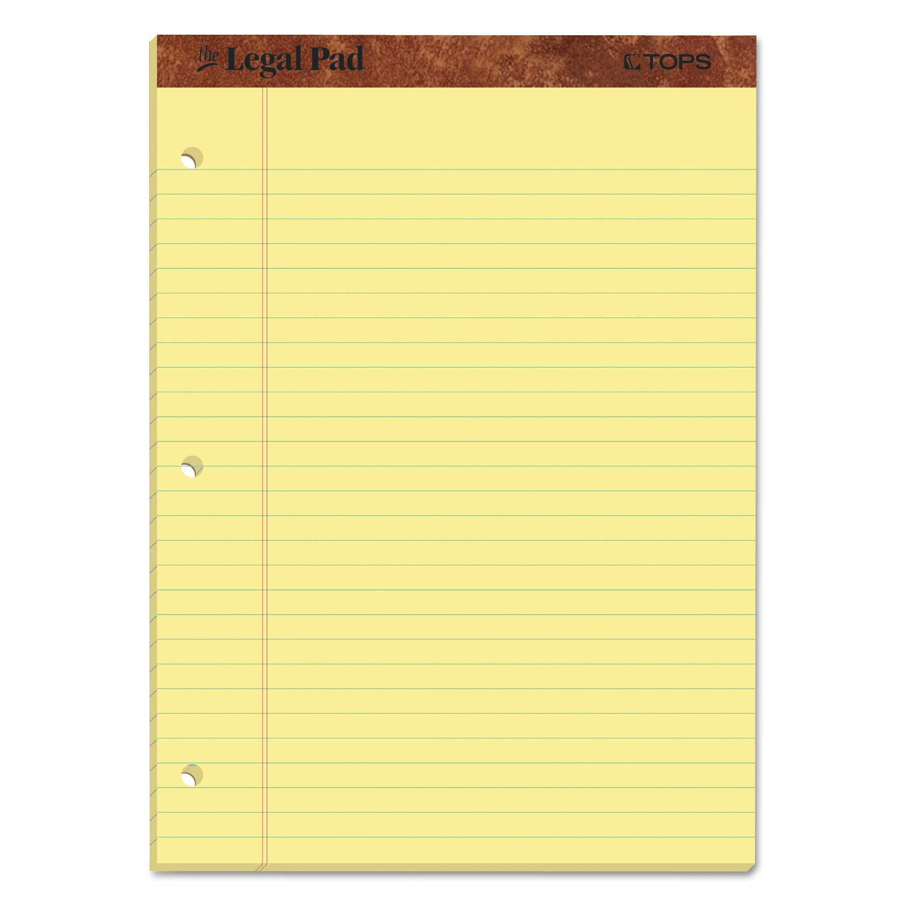 TOPS The Legal Pad Writing Pads, 8-1/2'' x 11-3/4'', Canary Paper, Legal Rule, 50 Sheets, 12 Pack (75351)