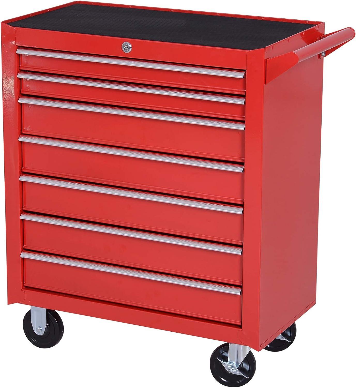 DURHAND Carro de Herramientas con 7 Cajones Caja Taller Cerradura tipo Mueble de Almacenamiento para Taller Garaje y Hogar Chapa de Acero Ruedas 69x33x75cm Rojo