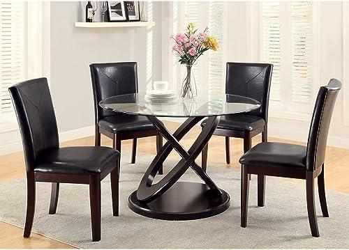 Furniture of America Ollivander 5-Piece Glass Top Dining Table Set – Dark Walnut