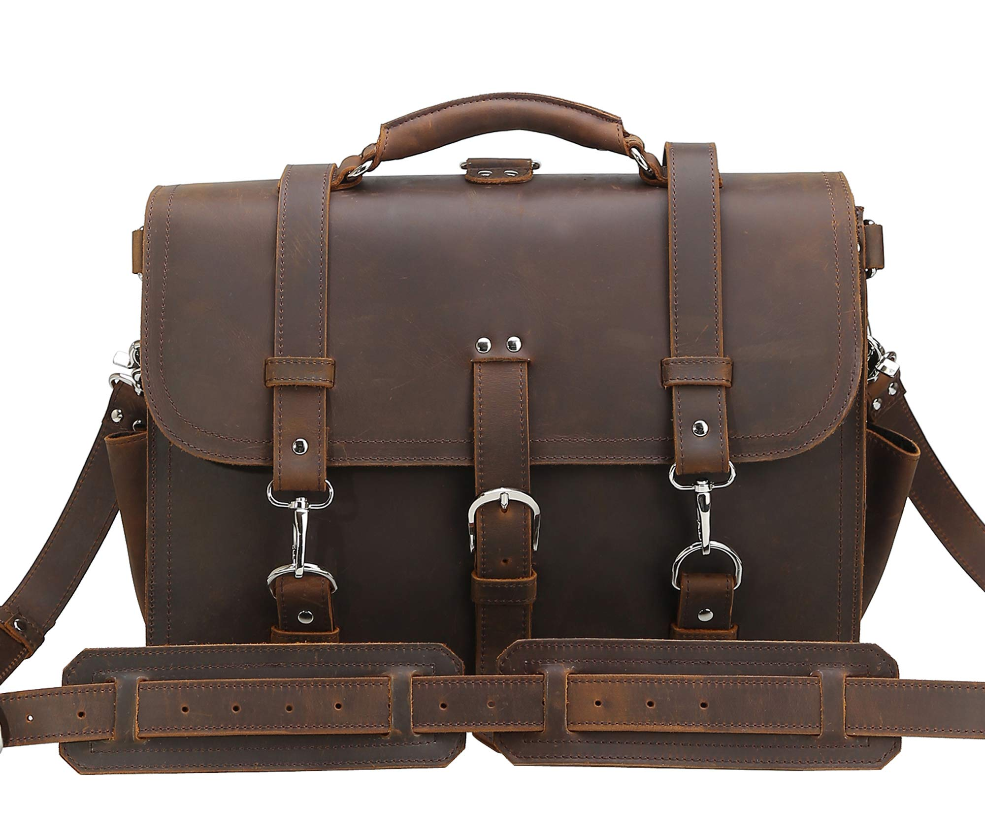 Texbo Men's 16 Inch Thick Cowhide Leather Briefcase Laptop Shoulder Messenger Bag Tote by Texbo (Image #2)