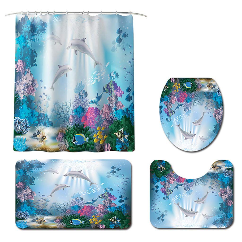 XIANAER Bathroom Mat 4Pc Shower Curtain with Hook + U-Shaped Contour Carpet + Toilet Cushion Coral Sea Pattern Hotel Decoration by XIANAER