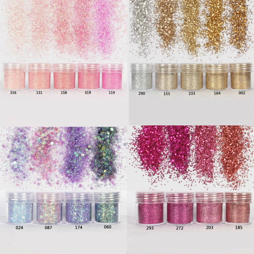 Cattie Girl 18 Boxes Rose Gold Round Corlorful Nail Glitter Powder Dust Confetti nail Sequins Women Manicure Decoration Tool Supplies Champagne Gold Nail Sequins Powder