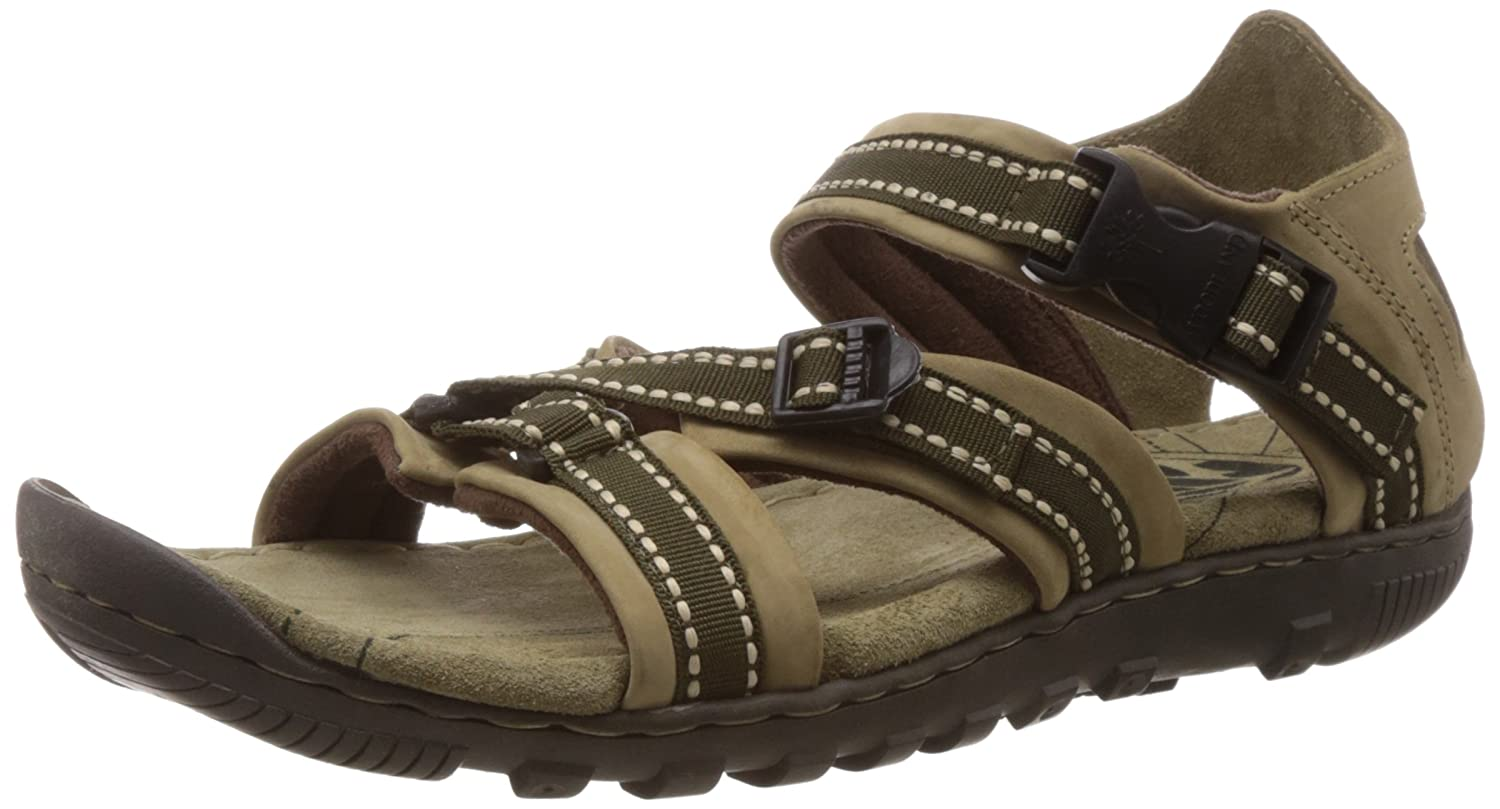 Khaki Leather Sandals and Floaters