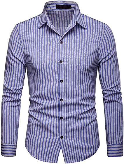 Camisa de Vestir Slim fit para Hombre Camisa de Manga Larga ...