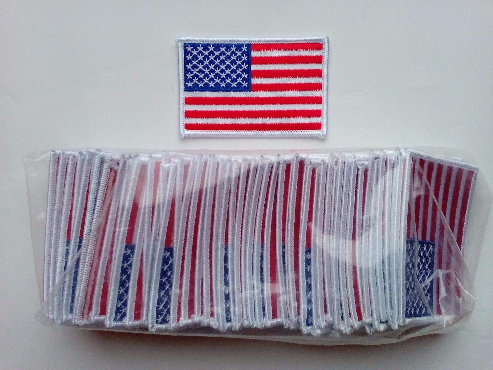 50 Pcs USA American Flag (W) Embroidered Patches 3.5x2.25 Iron-on by Stripeo