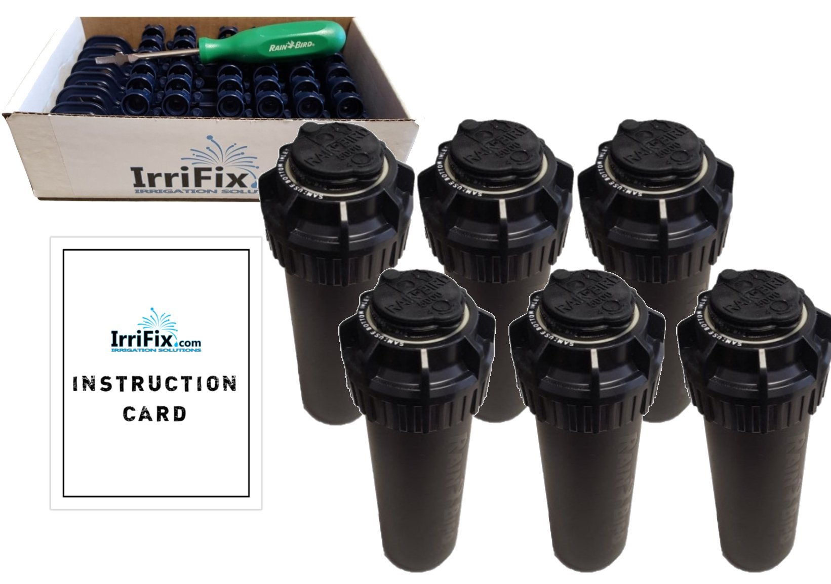 Rain Bird 5000 Series Seal-A-Matic Sprinkler Heads Bundle - 6 Pack 5004PCSAM SAM Rotors with IrriFix Nozzle Box Including 6 Nozzle Trees, 1 Rotortool Screwdriver, and IrriFix Instruction Sheet