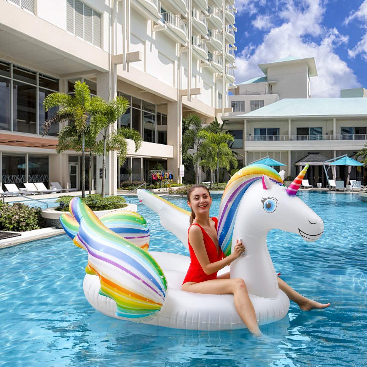 Flotador inflable gigante de la piscina del unicornio de Keenstone, juguete flotante del agua flotante, asiento flotante del PVC del partido al aire libre de la playa para los adultos